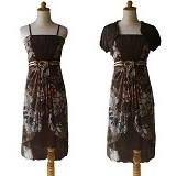 NOCHI SHOP Gaun Pesta Sweet Dress Semi Gown All Size [D1334] - Brown - Midi Dress Wanita