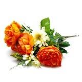 OHOME Bunga Mawar Piony Kelompok Artificial Dekorasi Interior Eksterior [AN-B000350] - Orange (Merchant) - Tanaman Buatan/Artificial