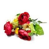 OHOME Bunga Mawar Piony Kelompok Artificial Dekorasi Interior Eksterior [AN-B000350] - Red (Merchant) - Tanaman Buatan/Artificial