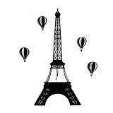 OHOME Decor Artistic Wall Clock Eiffel Tower [AN-CL0030] - Black - Jam Dinding