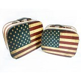 OHOME Koper Vintage USA Flag Tempat Penyimpanan Set Isi 2 [AN-BX0053] (Merchant) - Container