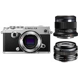OLYMPUS PEN-F Mirrorless Micro Four Thirds Digital Camera Double Kit - Silver - Camera Mirrorless