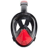 ONE OCEAN Full Face Snorkeling Mask New Design 4.0 Size S/M - Black Red (Merchant)