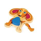 OOPS Mainan Kayu Puzzle 9 pcs Dog Happy [OP16002.22] - Wooden Toy