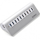 ORICO M3H10 10 Ports USB 3.0 Hub with 12V/3A Power Adapter [ ORI-USB-CHG-M3H10-SLV] - Silver - Cable / Connector Usb