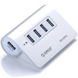 ORICO M3H4-SV Aluminum High Speed Mini 4 Port USB 3.0 Hub [ORI-USB-HUB-M3H4-WT] - White - Cable / Connector Usb