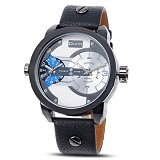 OULM Dual Time Watch For Men [3221] - Black White - Jam Tangan Pria Fashion
