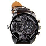 OULM Dual Time Watch For Men [9316]- Brown - Jam Tangan Pria Fashion