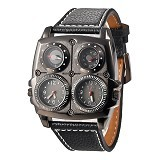 OULM Multifunction Watch For Men [1140] - Full Black - Jam Tangan Pria Fashion
