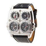 OULM Multifunction Watch For Men [1140] - Silver Black - Jam Tangan Pria Fashion