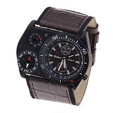 OULM Multifunction Watch For Men [4094] - Brown - Jam Tangan Pria Fashion