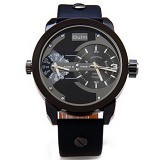 OULM Dual Time Watch For Men [3221] - Black