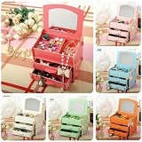 OUR CHICS SHOP Jewelry Box + Cermin - Penyimpan Kosmetik Serba Guna