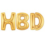 "OUR DREAM PARTY Balon Foil Kata ""HBD"" - Gold - Balon"