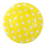 OUR DREAM PARTY Piring Kertas Polkadot - Kuning - Piring Makan