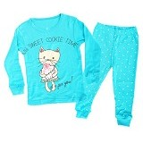 OWLIE BIRDIE Pajamas Blue Cat Size for 18-24 Month [OB-b-cat] - Setelan / Set Bepergian/Pesta Bayi dan Anak