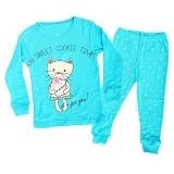 OWLIE BIRDIE Pajamas Blue Cat Size for 2 Years [OB-b-cat] - Setelan / Set Bepergian/Pesta Bayi dan Anak