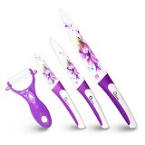 OXONE Flower 4Pcs Knife Set [OX-607] - Purple - Pisau Dapur Set