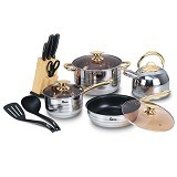 OXONE Rosegold Cookware Set dan Knife Block Set OX-777