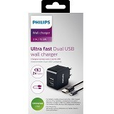 PHILIPS Ultra Fast Wall Charger 2 USB 3.1A with 1 Micro USB Cable [DLP2307U] - Charger Handphone