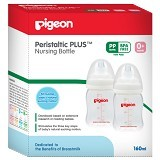 PIGEON Twin Pack Bottle Wide Neck 160ml Plus Nipple [PR010370] - Botol Susu