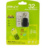 PNY Mini Hook Attache 32GB with OTG A2 Black Adapter - Usb Flash Disk Dual Drive / Otg