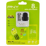 PNY Mini M1 Attache 8GB with OTG A2 Black Adapter - USB Flash Disk Dual Drive / OTG