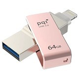 PQI iConnect Mini Lightning Apple USB 3.0 64GB - Rose Gold (Merchant) - Usb Flash Disk Dual Drive / Otg