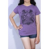 REDWHITE1945 Coat of Arms Silhouette T-shirt Size L - Light Purple - Kaos Wanita