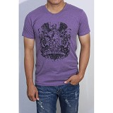 REDWHITE1945 Coat of Arms Silhouette T-shirt Size L - Light Purple - Kaos Pria