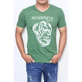 REDWHITE1945 Orangutan Silhouette in White Size M - Gurkha Green - Kaos Pria