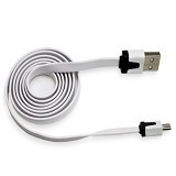 RHAYA GROSIR Kabel Data Flat Micro USB 1M - White (Merchant) - Cable / Connector Usb