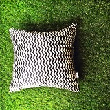 SADE.INDONESIA Cushion Cover - Black Wavy White - Sarung Bantal