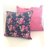SADE.INDONESIA Cushion Cover with Silicone Pillow - Flower Navy - Bantal Dekorasi