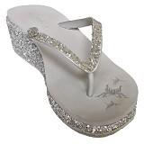 SAKIA Cabaret Wedges Sandal Size 40 - Silver - Wedges Wanita
