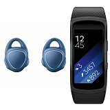 SAMSUNG Gear IconX Blue + Gear Fit2 Black Short Strap - Earphone Ear Bud