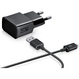 SAMSUNG USB Travel Adapter for Samsung Galaxy with Detacable Cable - Black - Charger Handphone