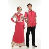 SARIMBIT Couple Queena Size L(W) & Size L (M) [066] - Clared Red - Gamis Wanita