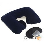 SDS Inflatable Travel Pillow - Dark Blue - Bantal Dekorasi
