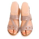 SENDAL UNIK MURAH Flat Jelly Triple Love Shoes Size 36 - Beige - Sandal Casual Wanita