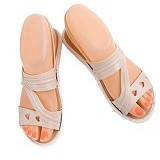 SENDAL UNIK MURAH Flat Jelly Triple Love Shoes Size 36 - Cream - Sandal Casual Wanita