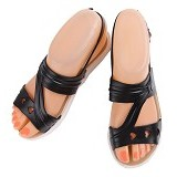 SENDAL UNIK MURAH Flat Jelly Triple Love Shoes Size 39 - Black - Sandal Casual Wanita