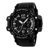 SKMEI Casio Men Sport LED Watch [AD1137] - Black White (Merchant) - Jam Tangan Pria Sport