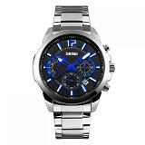 SKMEI Casual Men Stainless Strap Watch [9108CS] - Black Silver (Merchant) - Jam Tangan Pria Casual