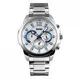 SKMEI Casual Men Stainless Strap Watch [9108CS] - White Silver (Merchant) - Jam Tangan Pria Casual