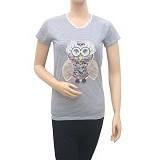 BEIBZ Unique Owl Woman Shirt - White (V) - Kaos Wanita