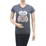 BEIBZ Unique Owl Woman Shirt - Black (V) - Kaos Wanita