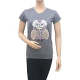 BEIBZ Unique Owl Woman Shirt - Grey (V) - Kaos Wanita