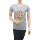 BEIBZ Blonde Girl Woman Shirt - White (V) - Kaos Wanita