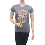 BEIBZ Blonde Girl Woman Shirt - Grey (V) - Kaos Wanita